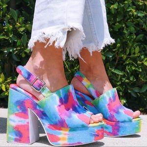 Jeffrey Campbell tie-dye platform heels